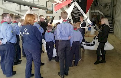 Wanafly Air Sports hanger visit for our Air Scouts